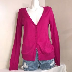 Forever 21 Hot Fuchsia Pink Button Down Cardigan